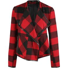 Dex Plaid Moto Jacket (3,540 DOP) ❤ liked on Polyvore featuring outerwear, jackets, coats, tops, casacos, red, plaid jacket, motorcycle jacket, red jacket and red motorcycle jacket
