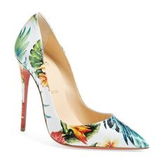 Christian Louboutin 'So Kate - Hawaii' Print Pointy Toe Pump (5,540 GTQ) ❤ liked on Polyvore featuring shoes, pumps, white, christian louboutin pumps, pointy-toe pumps, white stiletto pumps, hawaiian print shoes and stiletto pumps