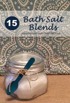 It's the end of a long week and a hot, relaxing bath sounds great right about now!  Here are 15 of our favorite recipes for relaxing bath salts  plus a FREE printable with those 15 recipes and an explanation of the benefits of Epsom salt, sea salt, baking soda, and 10 different essential oils that are used in these bath salt recipes. Feel free to use this printable for yourself, your team, or as a handout for a make & take class.