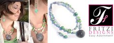 A98 - $60: Green Spring Beaded Necklace and Earring Set