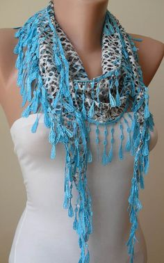 ON SALE - Perforated Fabric - Blue Scarf with Trim Edge$13.90