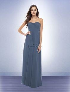 Bridesmaid Dresses:  Bill Levkoff: Chiffon: Floor Length: Pewter