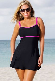 Beach Belle Cerise Plus Size Lingerie Swimdress Women's Swimsuit – Black – Size:16 $68.00