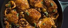 Braised Chicken Thighs with Garlic, Lemon and Greek Olives