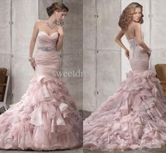 Wholesale Sweetheart real model organza Luxury Pink Mermaid wedding dresses bridal wedding gowns TU267, Free shipping, $162.85/Piece | DHgate Mobile