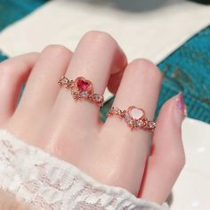 Sweet Heart Flower Cubic Crystal Zircon Adjustable Rings Women Jewelry – Atom Oracle Baby Jewelry, Womens Jewelry Rings, Cute Jewelry, Women Jewelry, Unique Jewelry, Baby Bracelet, Cute Rings, Color Ring, Jewelery