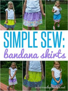 Simple Sewing Tutorial | How to turn a bandana into a little girl's skirt ~ These are so perfect for summer - lightweight, colorful, and comfortable!