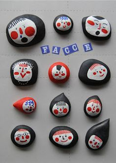 painted rocks - faces