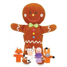 A wonderful hand puppet set from Fiesta Crafts including a gingerbread man hand puppet and 4 finger puppets - great for imaginative play. Man Set, Male Hands, Finger Puppets, Educational Games, Imaginative Play, Classic Toys, Gingerbread Man, Nursery Rhymes, Dinosaur Stuffed Animal