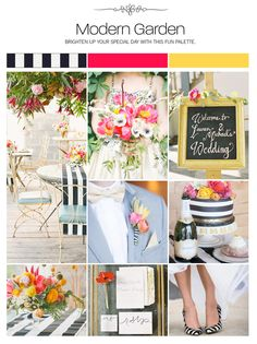 Modern garden striped black white hot pink yellow bright floral wedding inspiration board, color palette, mood board via Weddings Illustrated