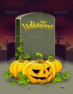 Halloween poster. Halloween pumpkins and tombstone with title Happy Halloween. Dark background. Vector illustration.
