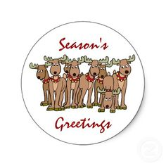 Funny Christmas Stickers with Santa's Reindeer from http://www.zazzle.com/santa+stickers