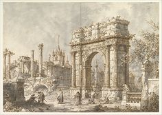 Canaletto (Giovanni Antonio Canal) | Capriccio with a Roman Triumphal Arch | The Met
