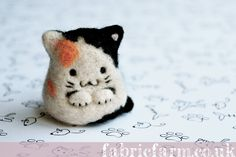 Miniature needle felted calico Miaow Cat by fabricfarm on @deviantART