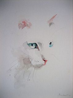 white cat art, watercolor by Analest Watercolor Cat, Watercolor Animals, Simple Watercolor Paintings, Watercolour Drawings, Watercolor Portraits, Cat Drawing, Painting & Drawing, Chiaroscuro, Cat Art