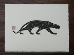 Panther Linocut Print by Inkshed Press.