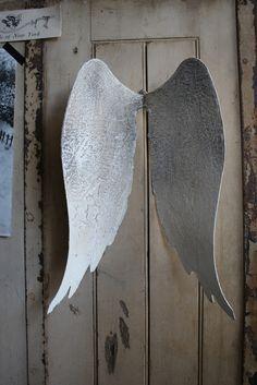 Distressed Metal Angel Wings