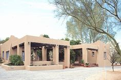 Pueblo Revival houses have their roots in adobe houses built by Native Americans and Spanish colonial settlers in the Southwest. The style prevails in that part of the country, particularly in Arizona and New Mexico where originals survive. 1910-present.