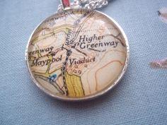 Vintage Map Necklace - Agatha Christie's Devon by SewsAttic on Etsy