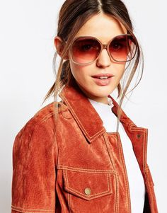 ASOS | ASOS Full Metal Oversized 70s Sunglasses at ASOS