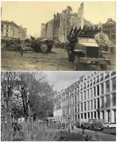 A Russian army vehicle next to the Neue Reichskanzlei (New Reich Chancellery), the Chancellery of Adolf Hitler at Voss Street, in this undated photo taken May 1945 in Berlin (top) and at the same location (bottom) April 20, 2015. (Georgiy Samsonov (top), Fabrizio Bensch/Reuters (bottom))