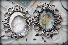 3 Pcs Silver Tone Oval Frame Cameo / Picture by BaublesOfFun, $4.45