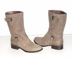 COLE HAAN NIKE AIR~$249.00~TAUPE~SOFT LEATHER  *LEORA* MID-CALF BUCKLE BOOTS~12 #ColeHaanNIKEAIR #LEORAMidCalfBucklesSoftLeatherBootsRARE #Casual