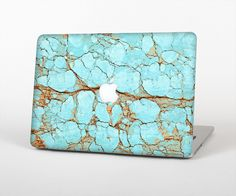 Items similar to The Cracked Teal Stone Skin for the Apple MacBook Air - Pro or Pro with Retina Display (Choose Version) on Etsy Macbook Pro Tips, Macbook Pro Cover, Macbook Air Pro, Macbook Case, Apple Macbook Pro, Macbook Pro Accessories, Tech Accessories, Iphone 5s Screen, Mac Notebook