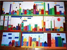ART: un paysage de ville d'après l'album Et toute la ville s'éveille de Marjorie Béal - Caracolus