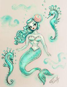 Mermaid Drawings, Mermaid Tattoos, Mermaid Art, Mermaid Pinup, Mermaid Images, Seahorse Art, Seahorse Drawing, Seahorse Tattoo, Seahorses