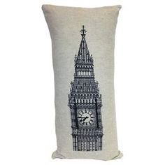 Cotton-blend pillow with a Big Ben motif.   Product: PillowConstruction Material: Cotton and polyesterColor: Linen and blackFeatures:   Insert includedKnife edgeReverses to solid linen backBig Ben design Dimensions: 24 x 12Cleaning and Care: Dry clean only
