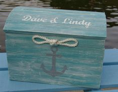 Personalized Pale Aqua Nautical Themed Treasure Chest Card Box by…