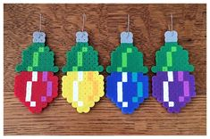 Items similar to 4 pc Retro Pixel Bulb Christmas Ornament Set on Etsy Perler Bead Designs, Perler Bead Templates, Diy Perler Beads, Pearler Bead Patterns, Perler Bead Art, Perler Patterns, Christmas Perler Beads, Beaded Christmas Ornaments, Art Perle