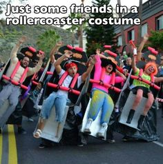 Roller coaster Halloween costume!  What a great group costume idea.