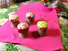 A pin cushion created using my Gran's wooden cotton reels
