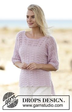 """Free Pattern; Summer's Caress by DROPS Design Knitted DROPS jumper with wave pattern and vent in 2 strands """"Kid-Silk"""". Size S-XXXL."""
