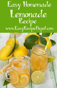 Then perfect easy recipe for Fresh Homemade Lemonade. Just a few simple steps to make this awesome refreshing lemonade. Lemonade With Lemon Juice, How To Make Lemonade, Refreshing Drinks, Fun Drinks, Yummy Drinks, Easy Recipe Depot, Homemade Lemonade Recipes, Popular Drinks, Juice Smoothie