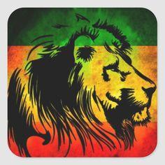 Reggae Rasta Lion Square Sticker - Custom Stickers