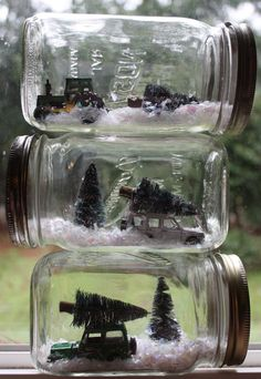 Poppytalk: Weekend Project: Winter Scene Mason Jars