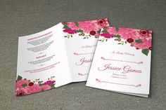 Floral Funeral Program Template   MS Word and Photoshop Template   V07