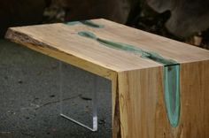 Live Edge Wood Folded Coffee Table with Glass River | Playa Del Carmen Rustic Industrial Lamps & Furniture