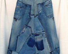 Harem pants size XXXL in patchwork of recycled jeans, very large pants, big trousers for man or woman, ecological fashion