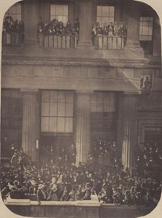 Balcony of the Town Hall, Brighton showing various people gathered for the Brighton Elections. Brighton Rock, Brighton Sussex, Brighton And Hove, East Sussex, Vintage Photographs, Vintage Images, East Street, The Old Days, Town Hall