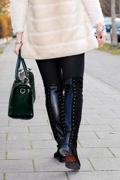 www.blonde-concept.com Coat by Zara, Pants by Calzedonia, Overknees by Duo Boots, Bag by Mango #fashionblogger