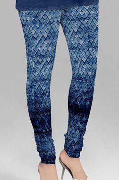 Blue Cotton Printed Leggings