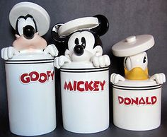 Rare Disney Cookie Jar Canister Set Mickey Mouse Donald Duck Goofy New Peek