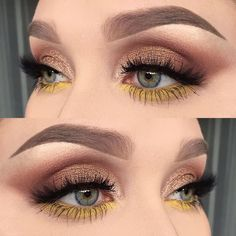 Hello my pumpkins, I couldn't help but notice how trendy yellow eye makeup looks were this summer. I've seen endless of creative makeup looks using bright yellow eyeshadow [or in some cases, eyeliner]; some beauty… Gorgeous Makeup, Love Makeup, Makeup Inspo, Makeup Art, Makeup Inspiration, Makeup Tips, Beauty Makeup, Hair Makeup, Cheap Makeup