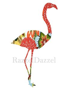 Bird, Flamingo, Collage Ephemera Composition Print, Vintage, Collage, Photomontage, Home Decor, Wall Art, 8x10 inches. $18.00, via Etsy.