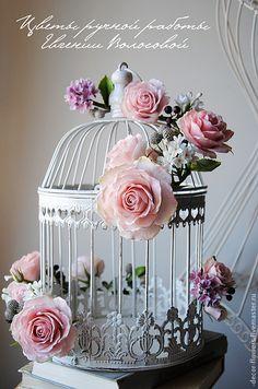 Купить Декоративная винтажная клетка с цветами ручной работы. - белый, розовый, сирень, розы, цветы