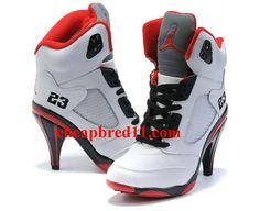 Womens Air Jordan 5 High Heels White Black Red